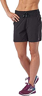 R-Gear Women's 7-inch Running Workout Shorts with Zipper Back Pocket for Gym, Sports, Leisure | Inspiration, Black, L