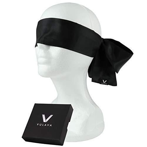 Premium Augenbinde von VULAVA + Gratis Online-Handbuch mit 100 Erotikspielen - hochwertige Augenmaske aus blickdichtem Satin - der weiche Stoff liegt angenehm auf der Haut für verführerische Momente