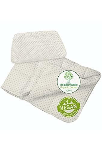 Kinderbettdecke Set 100 x 135 cm aus 100% Bio-Baumwolle - Vegane Baby und Kinder Steppdecke/Bettdecke mit Kopfkissen (100x135 + 40x60) -