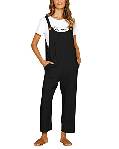 CNFIO Women Bib Overalls Sleeveless Straps Casual Rompers Jumpsuits with Pockets Black L