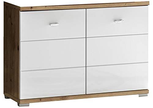 Waschbecken-Unterschrank - Weiß - Artisan Eiche Dekor - mit 2 Türen