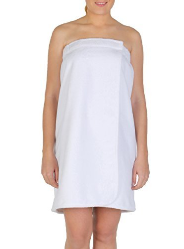 Arus Women's GOTS Certified Organic 100% Turkish Terry Cotton Adjustable Closure Bath Wrap Small Ice White