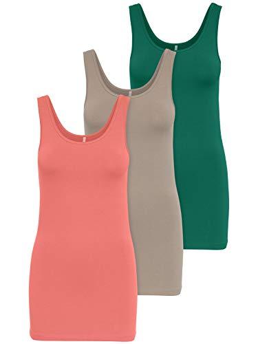 ONLY 3er Pack Damen Oberteile Basic Tank Tops weiß, schwarz, grau, blau, Creme Frauen Shirt lang Sommer Shirts Top 15201465 (M, Farbmix 1)
