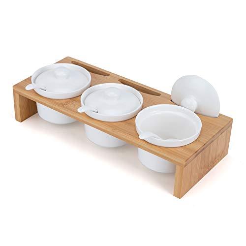 LONGBLE Gewürzgläser mit Löffel Gewürzdosen Keramik mit Deckel auf Bambus Gestell Marmeladendosen Parmesandosen auch ideal für Vorspeisen, Sauce, Snacks Zuckerdose Salzdose für Küche Esstisch Bistro
