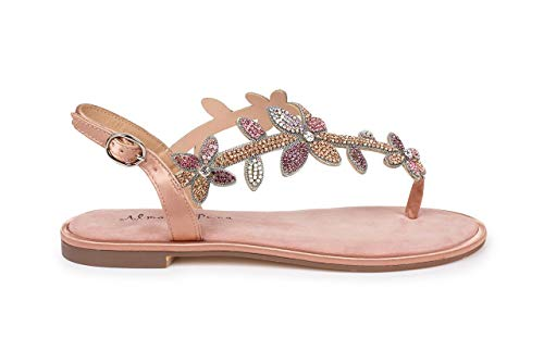 Alma en Pena, Damen, Flip-Flops, Pink - Suede Old Pink - Größe: 38 EU