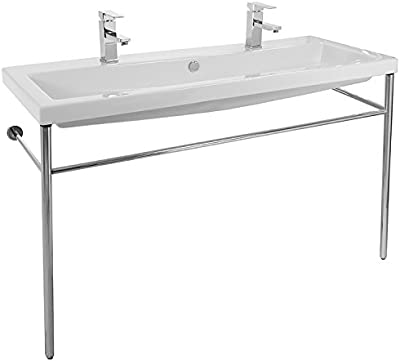 Large Double Console Ceramic Sink and Polished Chrome Stand
