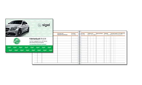 SIGEL FA614 Fahrtenbuch für PKW, A6 quer, 40 Blatt - für Deutschland und Österreich