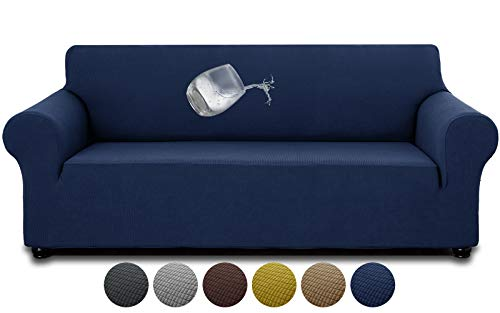 """AZAMIA Stretch Sofa Slipcover (78""""-95"""") for 3 Cushion Sofa, Oversized Water-Repellent Non-Slip Couch Sofa Cover Furniture Cover with Non-Skid Foam and Elastic Bottom for Kids Pets (Navy Blue)"""