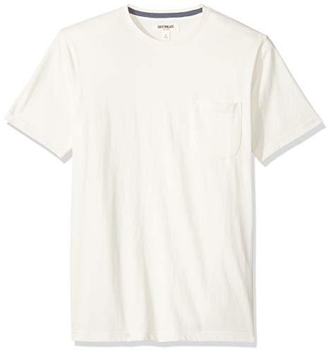 Marca Amazon - Goodthreads - Camiseta de manga corta y cuello redondo de punto de gamuza con bolsillo para hombre, Vintage White (Cream), US M (EU M)