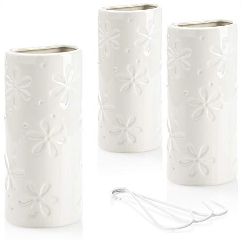 com-four® 3X humidificador de Aire calefacción - radiador humidificador de Aire semicircular - evaporador de Agua de calefacción de cerámica - 500 ml (Flor Blanca)
