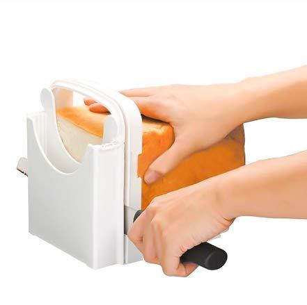 Bread Slicer, Folding Bread Toast Slicer Bagel Loaf Slicer Sandwich Maker Toast Slicing Machine with 5 Slice Thicknesses