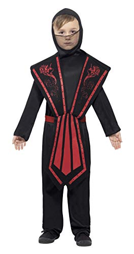 Smiffys kinder Ninja kostuum, jumpsuit met capuchon, overworp, riem en banden, maat: L, 25081