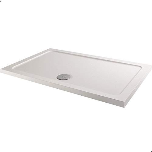 Hydrolux Modern Rectangle Shower Tray 1200 x 700mm Low Profile Slimline Lightweight White