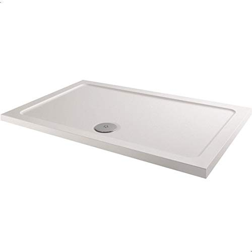 Hydrolux Modern Rectangle Shower Tray 1200 x 800mm Low Profile Slimline Lightweight White