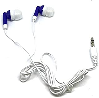 TFD Supplies Wholesale Bulk Earbuds Headphones 50 Pack for iPhone, Android, MP3 Player - Royal Blue