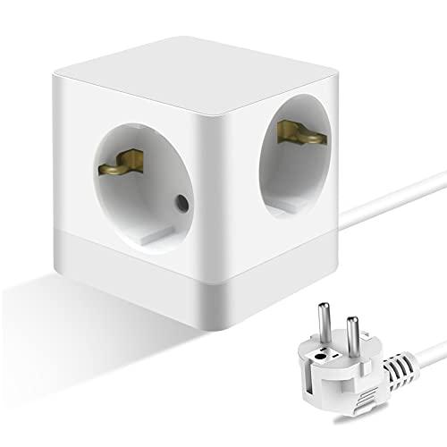 Enchufe de Pared Schuko Regleta de 4 Enchufes Multiples Toma de Corriente Pared para Smartphone MP3, Cable 1.5 M