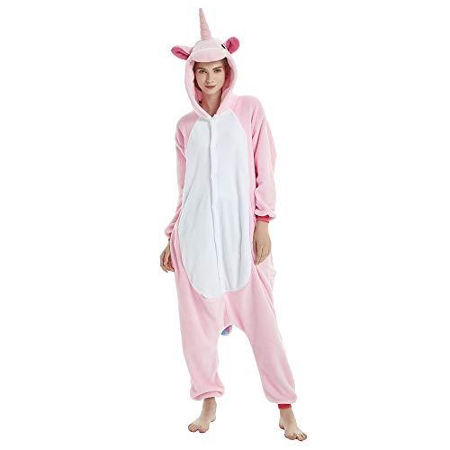 JYSPORT Tier-Schlafanzug, Unisex, Tier-Fleece-Anzug mit Kapuze, Cosplay-Kostüm, Pyjama für Kinder, Damen und Herren Größe L Rosa, Einhorn