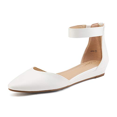 DREAM PAIRS Women's White Pu Low Wedge Ankle Strap Flats Shoes Size 7.5 M US Amiga