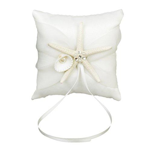 Baoblaze Romantische Hochzeit Ringkissen Ehering Kissen Ringhalter mit Seesterne Deko für Ringträger