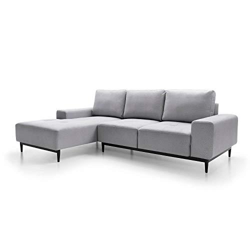 mokebo® Ecksofa aus Webstoff 'Die Leichtfüßige', modernes 3-Sitzer Sofa & Schlafsofa mit Bettkasten, Weboptik in Hellgrau -88