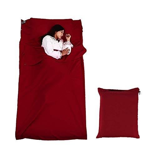 Sooair Hüttenschlafsack, Reiseschlafsack Ultra-Leichter, Schlafsack Ultrakleine, dünn, Ideal für Hostels, Berghütten und Jugendherbergen (Rot)