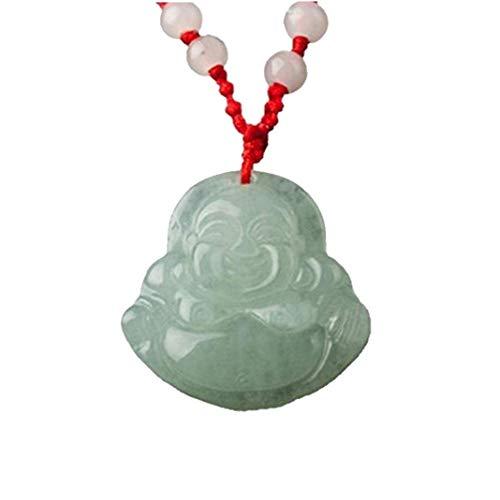 Heall Decoración de la joyería Colgante de Feng Shui Chino Jade Piedra Encanto Afortunado de Buda Collar Dinero
