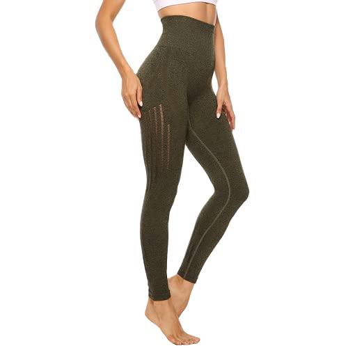 Pantalones de Yoga para Mujer Medias de Fitness de Cintura Alta Pantalones de Entrenamiento de energía sin Costuras para Mujer Pantalones de Entrenamiento Push-up JL