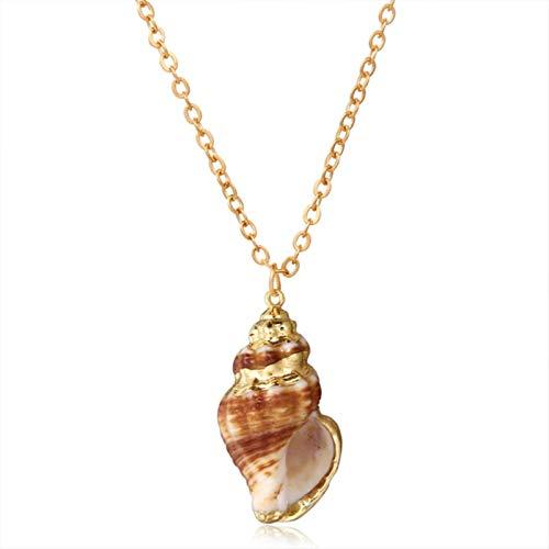 QIN Collar con Colgante Largo Bohemio de aleación de Concha de Estrella de mar de Concha para Mujer, Cadena de suéter, Collar de Playa de Verano, joyería de Fiesta