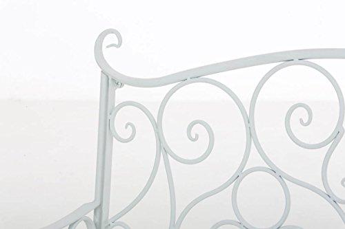 CLP Metall Gartenbank TUAN, 2-er Sitz-Bank Garten, Eisen lackiert, Design nostalgisch antik, 105 x 50 cm Weiß - 4