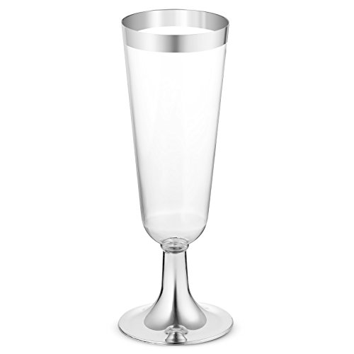 50 Plastic Silver Rimmed Champagne Flutes | 5.5 oz. Clear Hard Disposable Party & Wedding Cups | Premium Heavy Duty Fancy Champagne Flute or Toasting Glasses (50-Pack) Silver by Bloomingoods