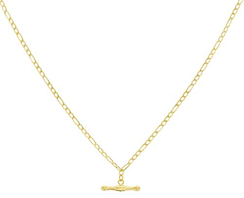 Carissima Gold Women's 9 ct Yellow Gold Hollow 2.3 mm Figaro Chain T-Bar Necklace of Length 46 cm/18 Inch