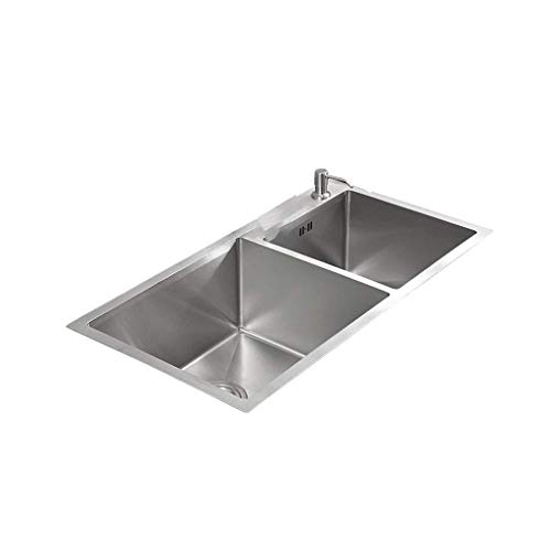 SHATONG Fregadero de Cocina con Caja de Herramientas de Acero Inoxidable 304 Hecho a Mano con Doble Cuenco, Lavabo Empotrado para lavavajillas