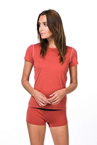super.natural Base 175 T-Shirt en Laine mérinos pour Femme S Tandoori/Georgia Peach