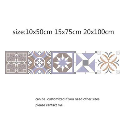 QWERTYU Arabische Retro Tegel Stickers Voor Keuken Badkamer PVC Zelfklevende Muurstickers Woonkamer DIY Decor Behang Waterdichte LIFUQIANGME, 10x50cm, 5 stuks.