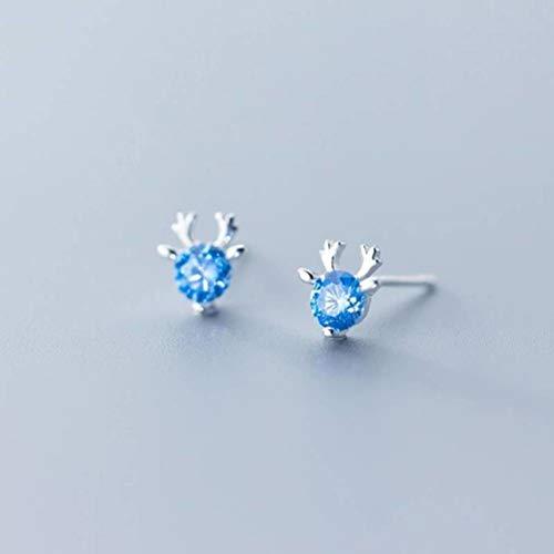 TYERY Pendientes de Plata S925, Mujer Coreana Simple Linda Chica Corazón Navidad Alce Tres Garras Pendientes de Diamantes Azules,Un par, Plata 925