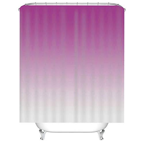 Aeici Bad Vorhang Waschbar mit Ring 3D Duschvorhang mit Ring,Gradient Badezimmer Duschvorhang 180x180 cm Duschvorhang für Vorhangschiene Fuchsie