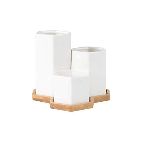 ZYTB Tiesto Tiesto Suculento carnosas Plantas de la cerámica Hexagonal Innovador Cerámica Blanca Bonsai con Bandeja de bambú decoración del hogar (Color : Type12)