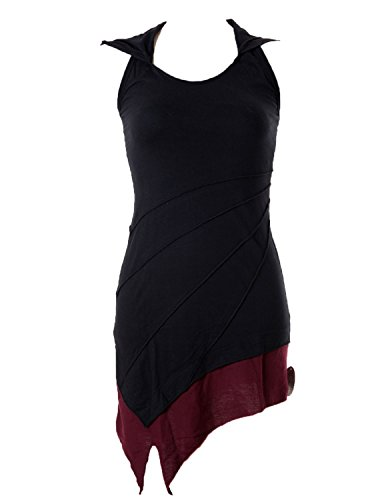 Vishes – Alternative Bekleidung – Asymetrischer Neckholder aus Baumwolle mit Zipfelkapuze – zweifarbig schwarz-rot 36