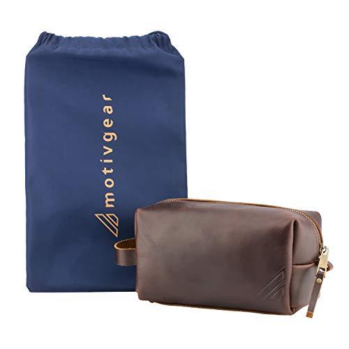Motivgear – Dutton Men's Toiletry Bag Dopp Kit Bathroom Organizer Travel Packing Cube Full Grain Leather