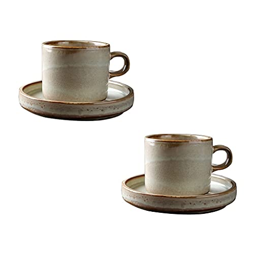 Taza de Latte Art Copas de café express retro europeas con platillos y cuchara de madera- 7 onzas (220 ml) - Taza de cerámica de perlas ligeras para artesanías - conjunto de taza de café de pareja, co