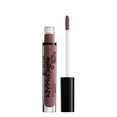 NYX Professional Makeup Lipgloss - Lip Lingerie Glitter, pflegender & nudefarbener Gloss, für unwiderstehlich glänzende Lippen, 3,4 ml, Honeymoon 07