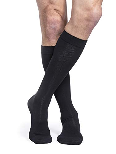 Sigvaris algodón 230para hombre puntera cerrada agarre parte superior Calcetines De Compresión De Pantorrilla 20–30mmHg, L largo, Negro, 1