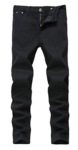 Men's Black Skinny Slim Fit Stretch Straight Leg Fashion Jeans Pants, Black, 33W