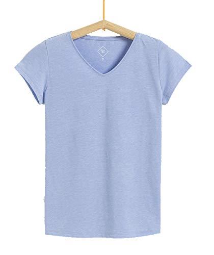 Tex - Camiseta Lisa para Mujer, Azul, L