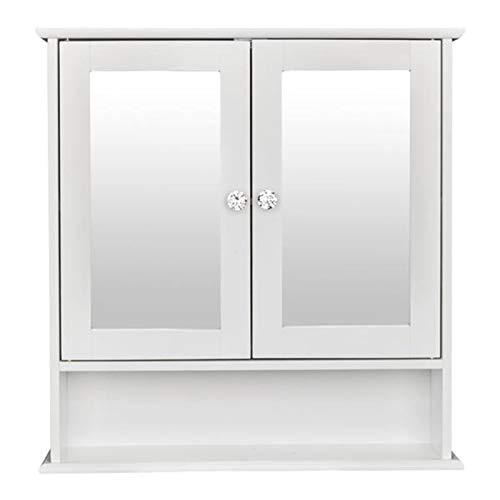 BXSZVOK Armario con Espejo de Pared para baño de Dos Puertas, Armario de Almacenamiento de Muebles de 3 Capas Blanco