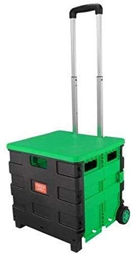 ZGQA-GQA Inicio Carro de compras plegable portátil cajón Pack & Grocery rodillo de plegado cesta con la tapa verde