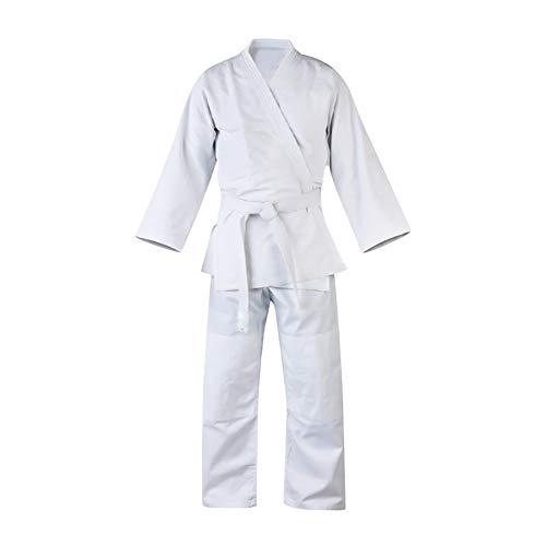 Gtagain Karate Kimono Taekwondo Dobok Traje - Unisex Adulto Niño Hombre Sudadera Suelto Conjuntos Artes Marciales Ropa Estudiante Uniform Judo Aikido Vestido con Cinturón Cuello En V Blanco