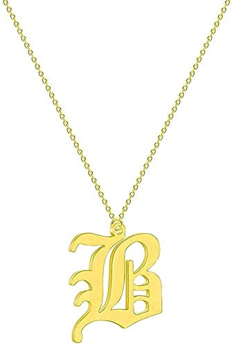 ZGYFJCH Co.,ltd Collar Mujer Collar Collar Simple 26 Letras Iniciales Collar Mujer Nombre Acero Inoxidable Novia Collares de Cadena étnica