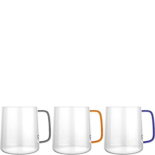 amapodo Juego de 3 vasos con asa multicolor – Tazas de cristal de 350 ml – Vasos de cristal, vasos de té, tazas de café, tazas de espresso – Juego de vasos para espresso, café, agua, zumo, té