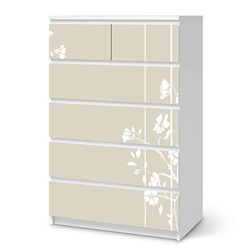 Möbelfolie selbstklebend passend für IKEA Malm Kommode 6 Schubladen (hoch) I Möbelaufkleber - Möbel-Sticker Aufkleber Folie I Deko Wohnung für Schlafzimmer und Wohnzimmer - Design: Florals Plain 3